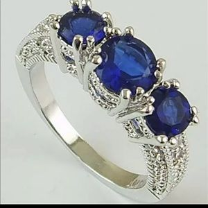 Blue stone ring silver 925
